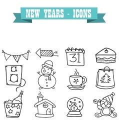 Icon of New Years hand draw vector image