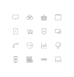 internet technologies linear thin icons set vector image