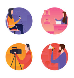 Journalists and mass media icons vector