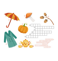 learn english with an autumn crossword educational vector image
