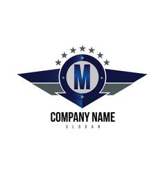 Letter m shield logo vector