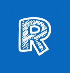 Letter r logo on blueprint paper background vector