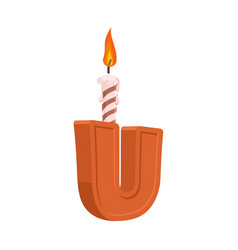 letter u birthday font letter and candle vector image
