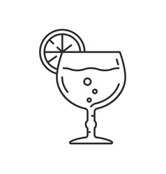 Line wineglass tropical cocktail cup toast icon vector