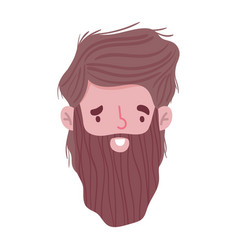 male face beard character portrait man isoated vector image