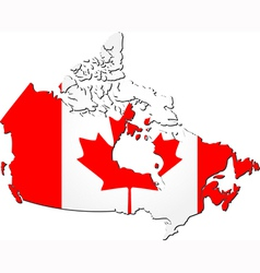 Map of Canada with national flag vector