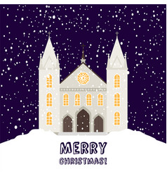 merry christmas card with church vector image