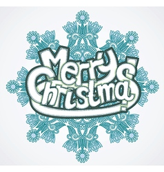 Merry christmas letters in snowflake vector