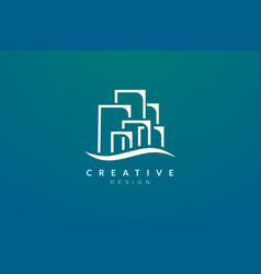Minimalist and flat city building logo design vector