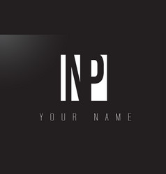 Np letter logo with black and white negative vector