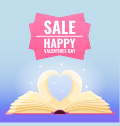 open book with page decorate into heart shape vector image