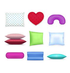 Pillows cushions colorful realistic set vector