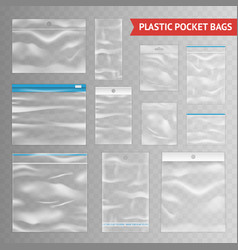 Plastic clear transparent realistic bags vector