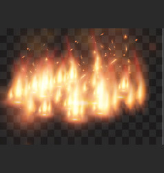 realistic fire transparent special effect vector image