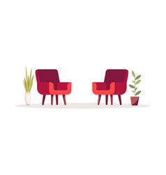 Red opposing chairs semi flat rgb color vector