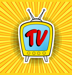 retro tv in pop art comic style on strip and dot vector image
