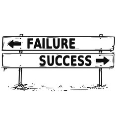 Road block arrow sign drawing of failure vector