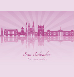 san salvador skyline in purple radiant orchid vector image