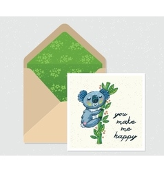 set for design Envelope and card with cute vector image