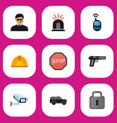 Set of 9 editable security icons includes symbols vector
