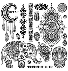 Set of ornamental Indian symbolsEthnic elephant vector image