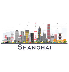 Shanghai china city skyline with color buildings vector
