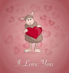 Sheep withe the heart vector