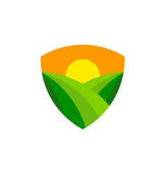 shield farm logo icon design vector image