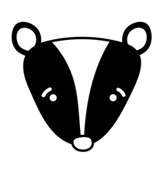 Silhouette sad skunk head wild animal vector