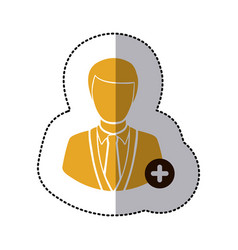 Sticker color half body silhouette man with plus vector