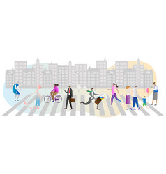 street crowd with many people vector image