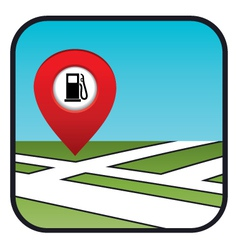 Street map icon with the pointer gas station vector image