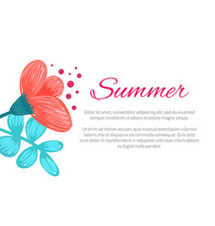 Summer poster with flower vector