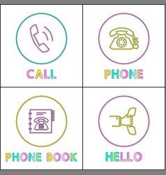 telephone conversation device linear icons set vector image
