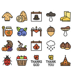 Thanksgiving related filled icon set 3 vector