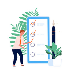 time management to do list man and mobile vector image