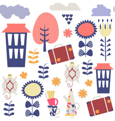 travel fantasy adorable seamless pattern cute vector image