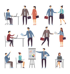various scene of active business people in office vector image