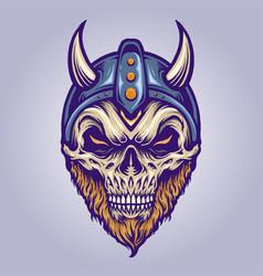 viking skull head with horn helmet for your work vector image