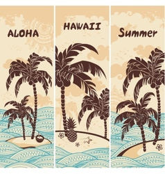 vintage banners island in ocean vector image