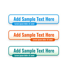 Web lower third banners set in three colors vector