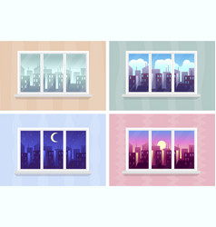 Window views morning day and night cityscape vector