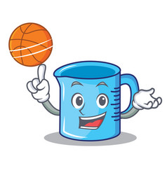 With basketball measuring cup character cartoon vector