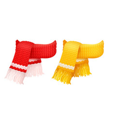 Yellow and red knitted scarf white woolen threads vector