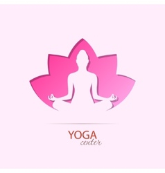 Yoga center girl in lotus silhouette symbol vector