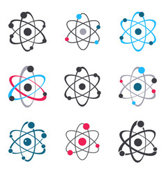 atom sign logo icons collection vector image vector image