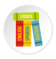 books of foreign languages icon circle vector image vector image