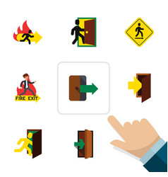 flat exit set of directional evacuation open vector image
