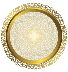 Gold and white vintage round isolated frame vector image vector image