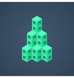 green abstract isometric building icon vector image